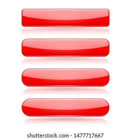 Red menu buttons. Rectangle and oval 3d shiny icons with reflection. Illustration isolated on white background. Raster version