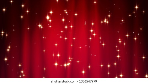 Red Merry Christmas background with golden stars. Walpaper for Valentine's day