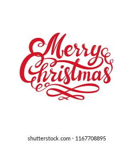 Red Merry Christmas text. Calligraphic Lettering design card template. Creative typography for Holiday Greeting. Usable as poster, web banner, greeting card, gift package etc. illustration