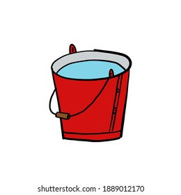 red metal bucket. cartoon illustration. white background. isolated object