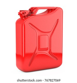 Red Metal Jerrycan with Free Space for Yours Design on a white background. 3d Rendering