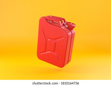 Red metal jerrycan on a yellow background. Canister for gasoline, diesel gas. 3d rendering illustration