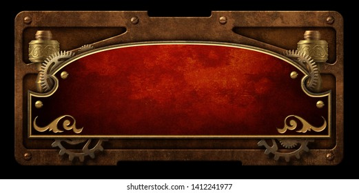 Red metal plaque with steampunk gear and  copper border isolated 3D digital illustration