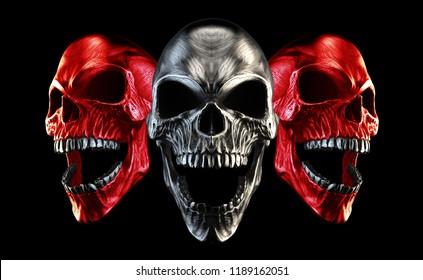 Red and metal skulls screaming - 3D Illustration