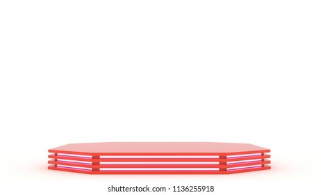 Red metall pedestal with empty stage. Space to place your text or object. 3d. Pink neon.