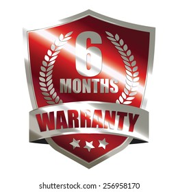 red metallic 6 month warranty shield sticker, badge, icon, stamp, label, banner, sign isolated on white