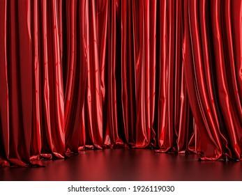 Red metallic curtain background 3d render