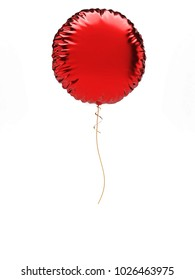 Red metallic round baloon isolated on white background. 3D illustration of celebration, party baloons