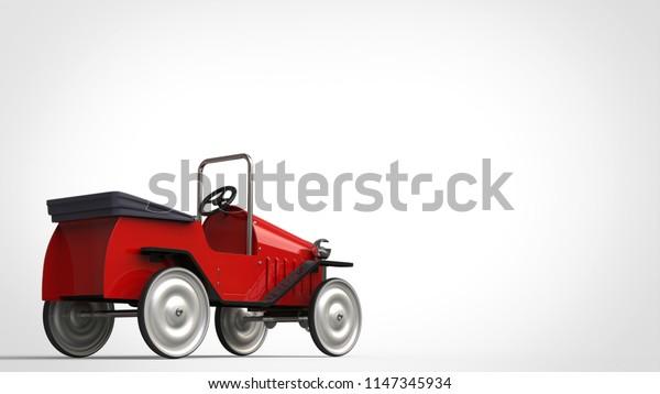 Red metallic vintage toy car - back view - 3D Illustration