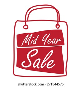 Red Mid Year Sale Shopping Bag Label, Banner, Sign or Icon Isolated on White Background