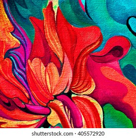 red mod damask decorative flower oil painting on canvas, illustration