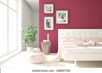 Red modern bedroom. Scandinavian interior design. 3D illustration