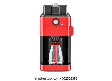 Red modern coffeemaker or coffee machine, 3D rendering isolated on white background