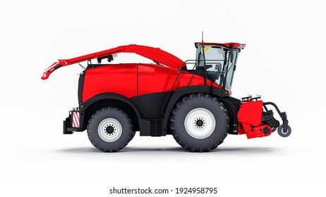 Red modern combine on a white background. 3d rendering