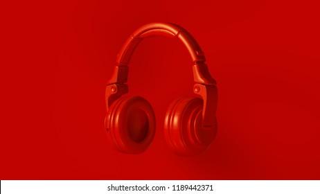 Red Modern Headphones 3D illustration 3d render