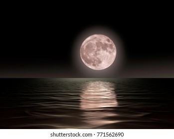 Red moon rising over the ocean surface