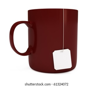 Red mug (cup) with blank teabag label, isolated on white, 3d illustration