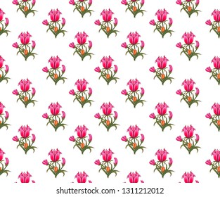 red mughal floral motif  white background pattern