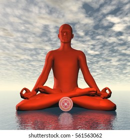 Red muladhara or root chakra meditation - 3D render