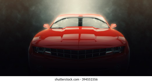 Red muscle car - epic lighting shot
