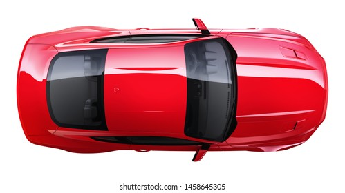 Red muscle car -  top view (3D render)
