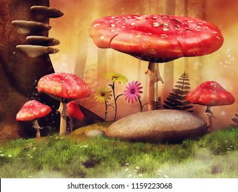 Red mushrooms and colorful flowers on a flowering meadow with trees and rocks. 3D illustration.
