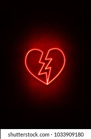 Red Neon Broken Heart sign