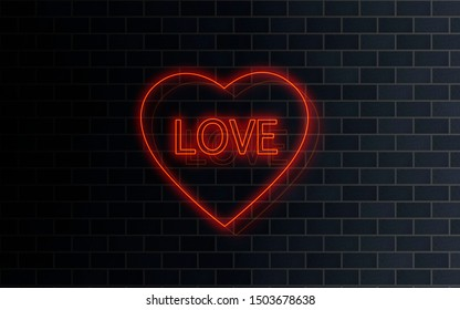 Red neon light signage LOVE in a heart shaped frame on a dark brick wall background. Cafe, restaurant, bar, adults shop exterior concept. Billboard, signboard concept. Decoration, art.