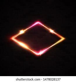 Red neon rhombus background on black brick wall. Retro light lozenge sign with neon effect. Technology diamond border. Night club casino design template. 80s style electric frame illustration.