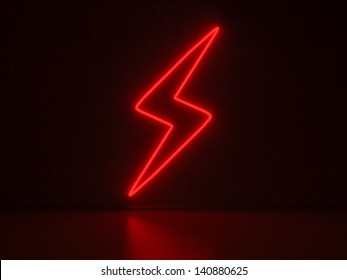 A red Neon Sign in Form of a Flash on a Wall of Concrete