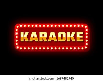Red neon signage Karaoke on black background. Bar, club, restaurant advertisement. Advertisement concept banner, billboard, display or signboard. Interior or exterior design element, decoration.