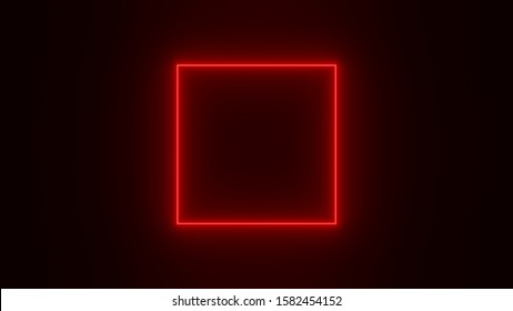 Red neon square  on black background. 3D render