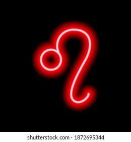 Red neon zodiac sign Leo. Predictions, astrology, horoscope.