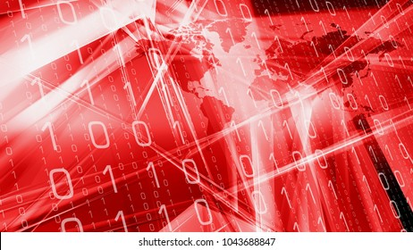 Red new technology abstract concept, software binary code