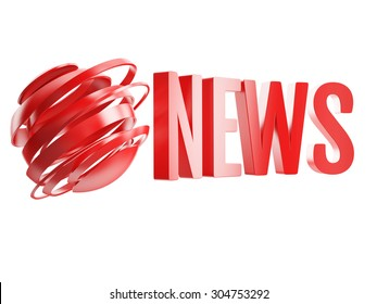 red news logo with abstract globe isolated on white background