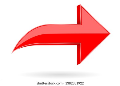 Red Next arrow. Shiny 3d icon. Illustration isolated on white background. Raster version