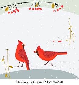 Red Northern Cardinal birds on snow poster. Freehand cartoon cute style. Winter birds of backyard, city garden. Stylized animal sign. New year event banner background. Christmas greeting design