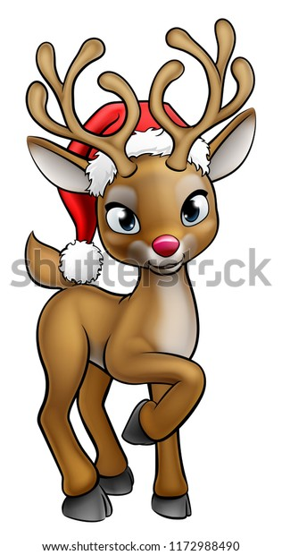 A red nosed Christmas reindeer cartoon character wearing a Santa Claus hat