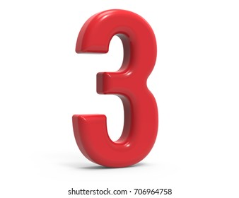 red number 3, 3D rendering red plastic texture number isolated on white background