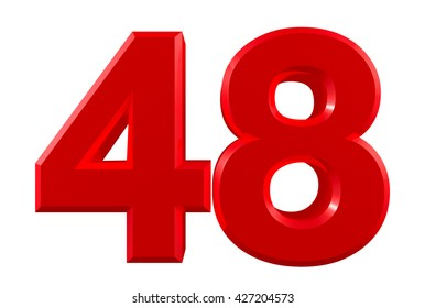 Red numbers 48 on white background illustration 3D rendering