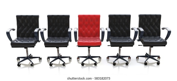 red office chair among black chairs isolated on white background in the design of information relating to the business and meeting. 3d illustration
