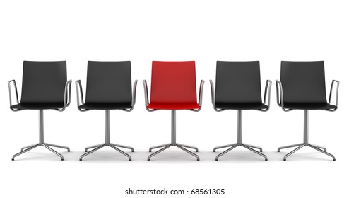 red office chair among black chairs isolated on white background