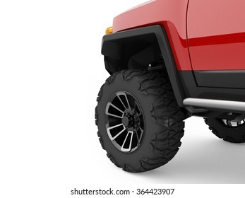 Red offroad car, big SUV car wheel stands on white background.