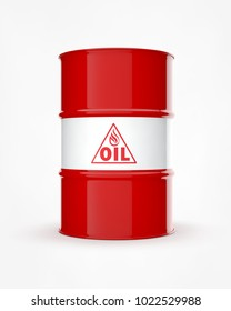 Red Oil Drum. High quality 3D Render.