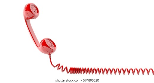Red old phone receiver isolated on white background. 3d illustration