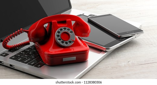 Red old retro telephone and modern elctronic devices on wooden background. 3d illustration