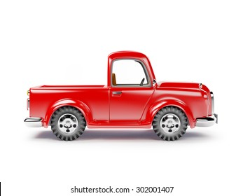 red old truck isolated on white background. Side view.