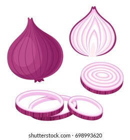 Red onion set. Cut in half, slice and onion rings. Isolated illustration.