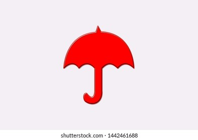 red open umbrella on a white background. icon with an umbrella