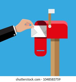 Red opened mailbox with regular mail inside. Post and mail, correspondence. Hand with envelope. illustration in flat design